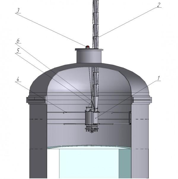 Рис.3. Схема расположения устройства равномерной загрузки внутри аппарата